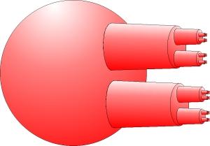 Esfera cornuda desplegada sin los cuernos entrelazados, en la que se aprecia que los puntos limite forman un conjunto de Cantor.