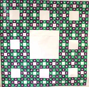 7. ODD-MODEL modelo de alfombra con número impar con esquinas moradas